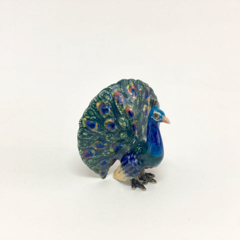 Small Miniature Ceramic Peacock With Tail Out