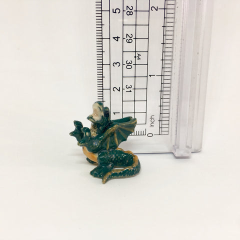 Miniature Ceramic Green Dragon