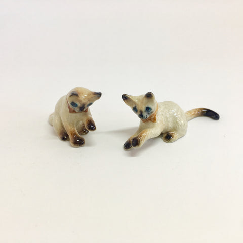 Small Miniature Ceramic Siamese Cats Playing