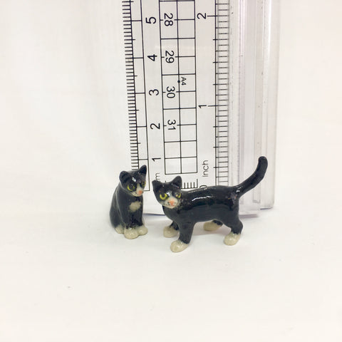 Small Miniature Ceramic Black and White Cats