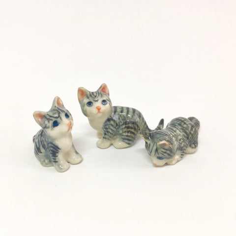 Small Miniature Ceramic Grey Cats