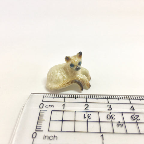 Small Miniature Ceramic Siamese Cat Lying