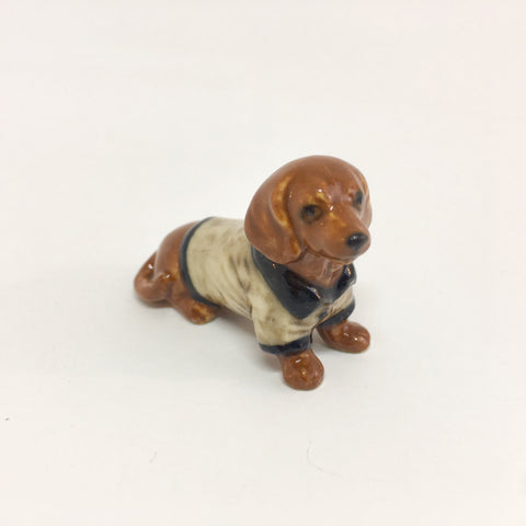 Small Miniature Ceramic Brown Dachshund with Brown Coat