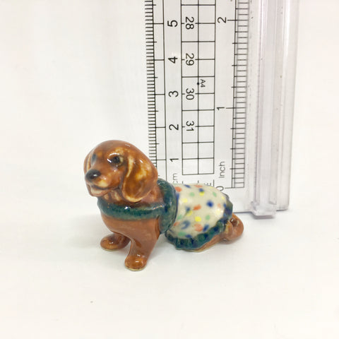 Small Miniature Ceramic Brown Dachshund in a Spotty Coat