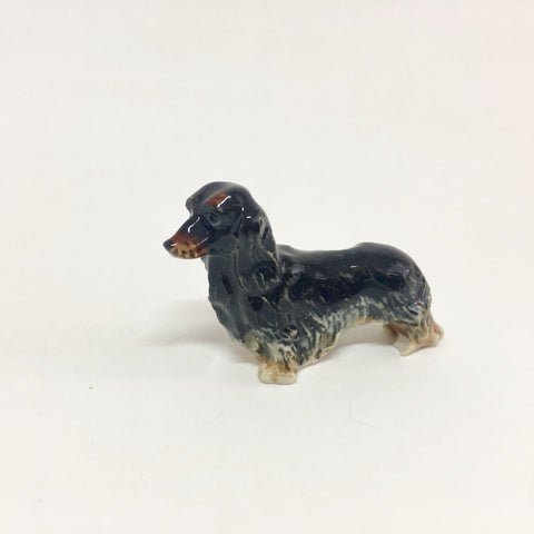 Small Miniature Ceramic Black Long-haired Dachshund