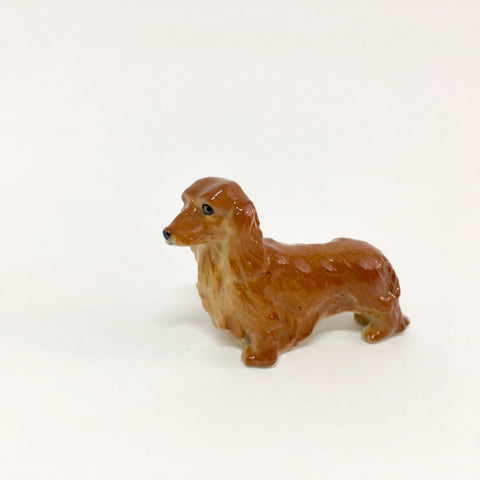 Small Miniature Ceramic Brown Long-haired Dachshund