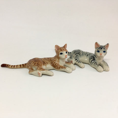 Miniature Ceramic Cats Lazing