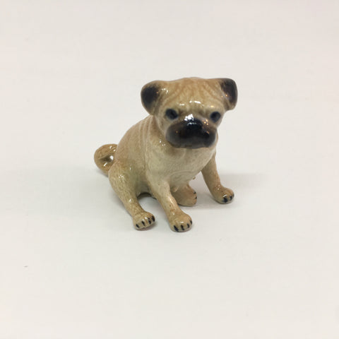 Miniature Ceramic Sitting Pug Dog