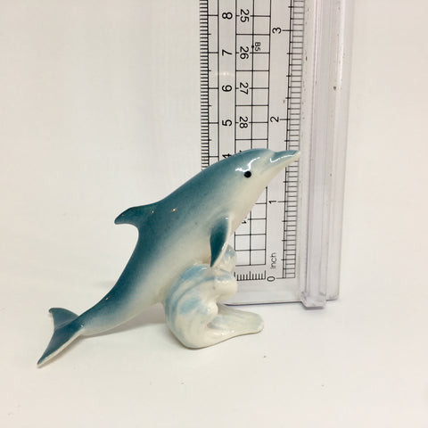 Miniature Ceramic Blue Dolphin