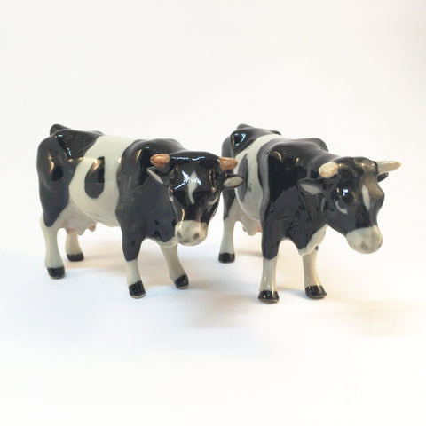Miniature Ceramic Black & White Cow Family