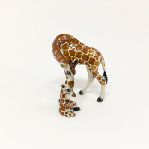 Small Miniature Ceramic Giraffe Mum and Baby