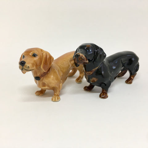 Miniature Ceramic Brown & Black Dachshund