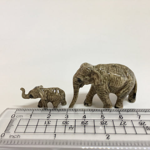 Small Miniature Ceramic Elephants - Mum and Baby