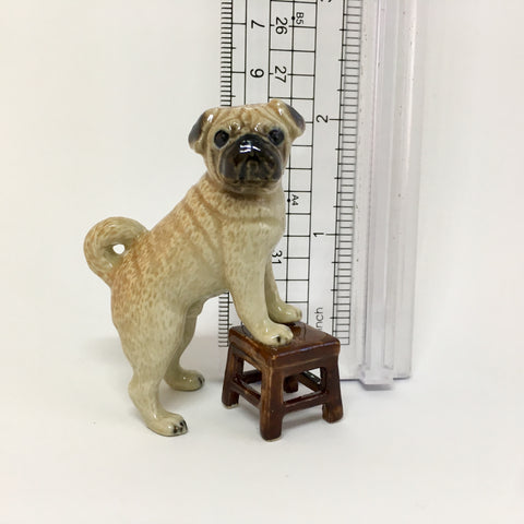 Miniature Ceramic Pug Dog on Stool