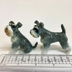 Miniature Ceramic Grey and White Schnauzers