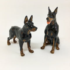 Miniature Ceramic Dobermans