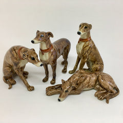 Miniature Ceramic Brown Greyhound or Whippet Dog