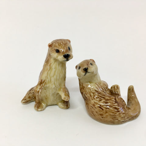 Small Miniature Ceramic Otters