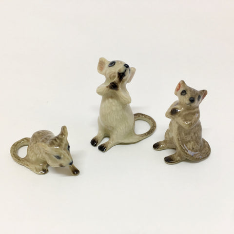 Miniature Ceramic Grey Mice