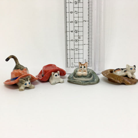 Small Miniature Ceramic Cats Playing in Hats