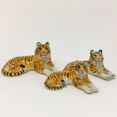 Small Miniature Ceramic Tiger Family