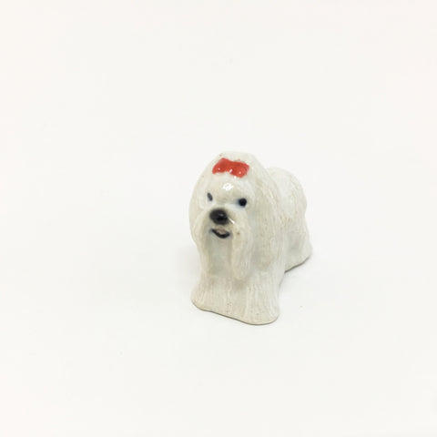 Small Miniature Ceramic Maltese Dog