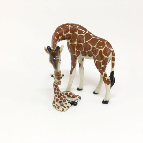 Large Miniature Ceramic Giraffe Mum and Baby