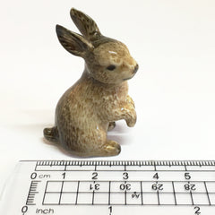 Small Miniature Ceramic Brown Rabbits