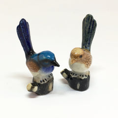 Small Miniature Ceramic Wrens on Branches