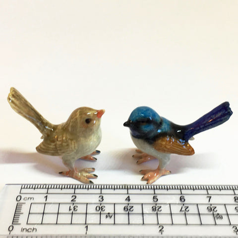 Small Miniature Ceramic Blue Wrens