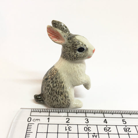 Small Miniature Ceramic Grey Rabbits