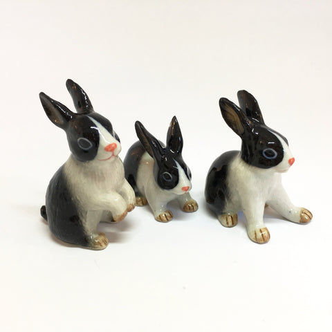 Small Miniature Ceramic Black & White Rabbits
