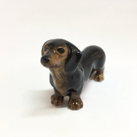Miniature Ceramic Black Dachshund
