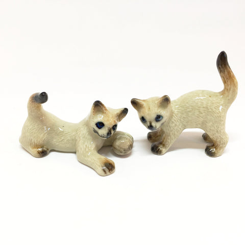 Small Miniature Ceramic Siamese Cats