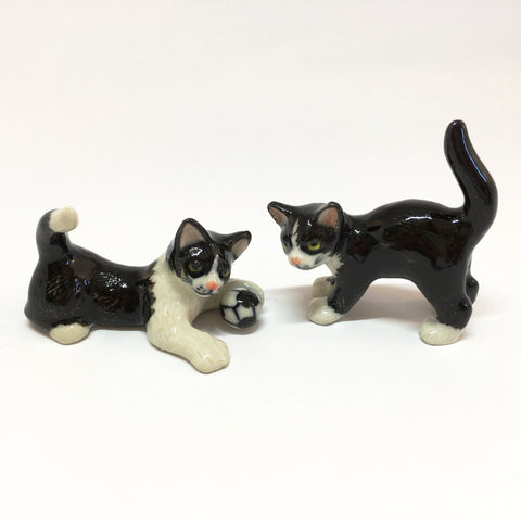 Small Miniature Ceramic Black & White Cat Playing