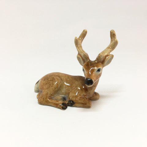 Small Miniature Ceramic Sitting Deer with Antlers