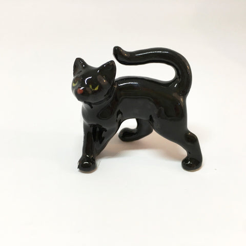 Small Miniature Ceramic Black Cat
