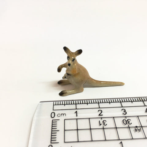 Small Miniature Ceramic Kangaroo Family