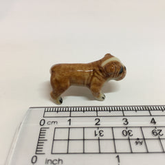 Small Miniature Ceramic Light Brown Bulldog