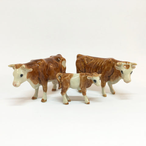 Miniature Ceramic Brown & White Cow Family
