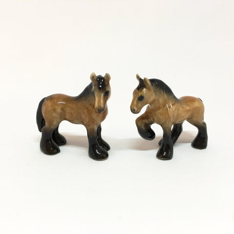 Small Miniature Ceramic Horses - Light Brown and Black