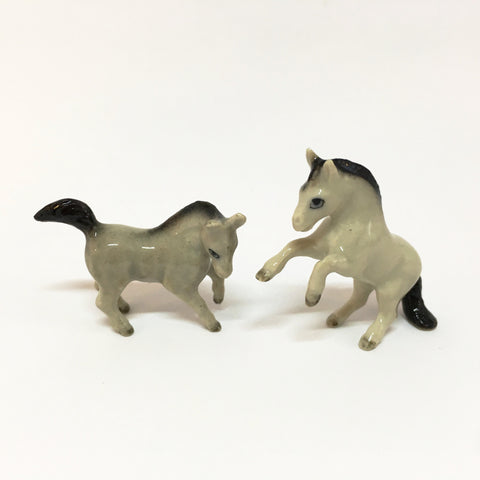 Small Miniature Ceramic Horses - Grey and Brown