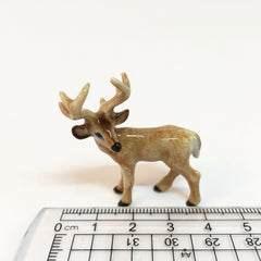 Small Miniature Ceramic Standing Deer with Antlers