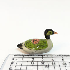 Small Miniature Ceramic Green & White Duck
