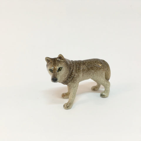 Small Miniature Ceramic Wolf