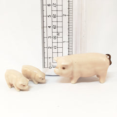 Small Miniature Ceramic Pig Family