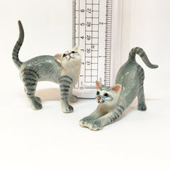 Miniature Ceramic Grey Cats