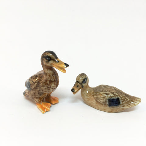 Small Miniature Ceramic Brown Ducks