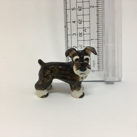 Small Miniature Ceramic Brown and White Schnauzer