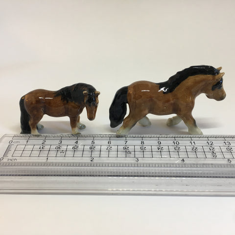Miniature Ceramic Dark Brown Pony / Horse